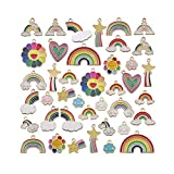 Tangser 40 Pcs Assorted Gold Plated Enamel Pendants Necklace Bracelet Charms, Rainbow Star Clouds Charm Pendant DIY for Necklace Bracelet Jewelry Making and Crafting