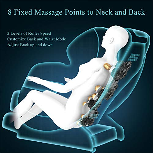 Real Relax Massage Chair, Full Body Zero Gravity Shiatsu Recliner with Heat and Foot Rollers, Black