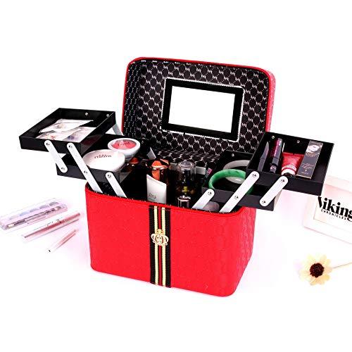 LITAO Make-up Aufbewahrungstasche tragbare Kosmetik Fall Großhandel Make-up Desktop Aufbewahrungstasche Doppel Vier offene große Kapazität, rot