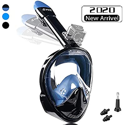 PHZ. Full Face Snorkel Mask,Advanced Safety Breathing System Allows You to Breathe More Fresh Air Anti Fog Anti Leak Foldable Snorkel Mask for Adult and Kids (Black/Blue, L)