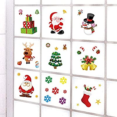 Christmas Window Clings Christmas Window Decals Snowflake Santa Claus Reindeer Window Stickers for Christmas Window Decorations