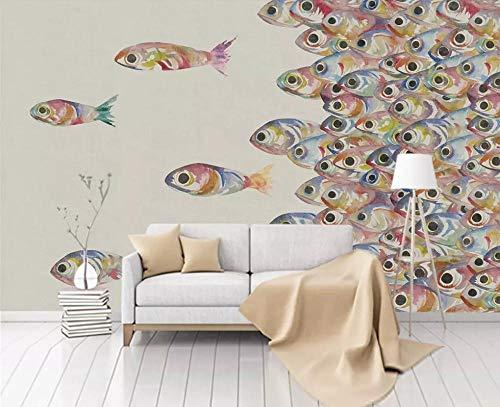 Papel Pintado 3D Fotomural Pared Wallpaper Peces Pintados A Mano Acuarela Moderno Papel Tapiz 3D Mural Pared Wallpaper