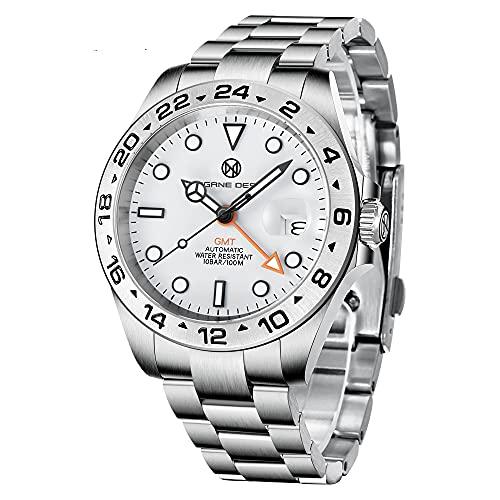 PAGRNE DESIGN Relojes Automatico Hombre GMT Analógico Casual Deportivo Impermeable Relojes de Pulsera para Hombres con Acero Inoxidable Bracelet