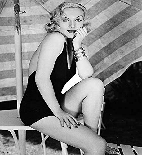 Posterazzi DAP14597 Carole Lombard - Patio Table Close up Photo Print, 8 x 10, Multi