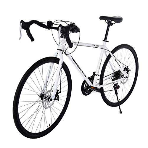 Adult City Bike, 21 Speed Disc Brakes Variable Speed Road Bike Adult Male and Female Student Curved Bicycle Gift, Aluminum Full Suspension Bike Suit for Teens Sport Urban Work Commuting Outing (white)