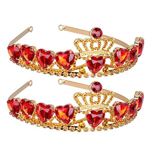 Lurrose kristal tiara edelsteen haarbanden kinderen kinderen kleine kinderen hoofdwear cosplay kostuum verjaardagsfeest bruiloftsdecoratie 2 stuks goudrood