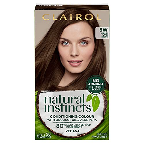 Clairol Natural Instincts Semi-Permanent No Ammonia Radiant At-Home Hair Dye, First Greys Coverage Up to 28 washes, Colour: 5W Medium Warm Brown