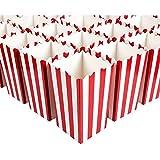 Juvale Mini scatole di popcorn (set di 100) - Ideale per serate di film, compleanni, docce per bambini - Classiche strisce rosse e bianche - 3 x 3,9 x 3 pollici