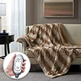 Hyde Lane Faux Fur Electric Throw | Premium Chocolate 50x60 Soft Electric Blanket | Fuzzy, Pilling Resistant Heating Throw | 3 Heat Settings | Auto-Shutoff | Machine Washable