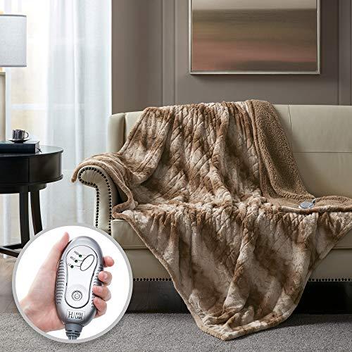 Hyde Lane Sherpa Electric Throw Blanket | Premium Wild Fox 60x70 Oversized Plush Heating Blanket | Extra Cozy & Soft | 3 Heat Settings | Auto-Shutoff | Machine Washable