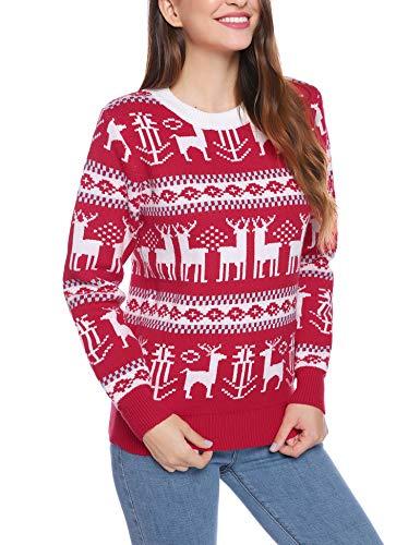 iClosam Herren Weihnachtspullover Lustige Strick Christmas Sweater Pullover mit Rundhalsausschnitt (Rot7, XL)