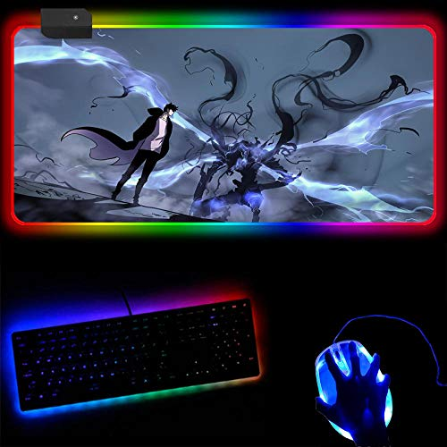 Gaming Mouse Pads Anime Solo Leveling RGB Mouse Pad Large Led Gaming Mousepad Large Extended Gamer Accessories Pc Desk Mat with Backlit 14 Light Modes-50X100X0.4Cm