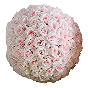8 Inch Wedding Artificial Rose Silk Real Flower Ball for Bridal Bouquets,Home Outdoor Party Centerpieces Decorations -Cherry Blossom Pink