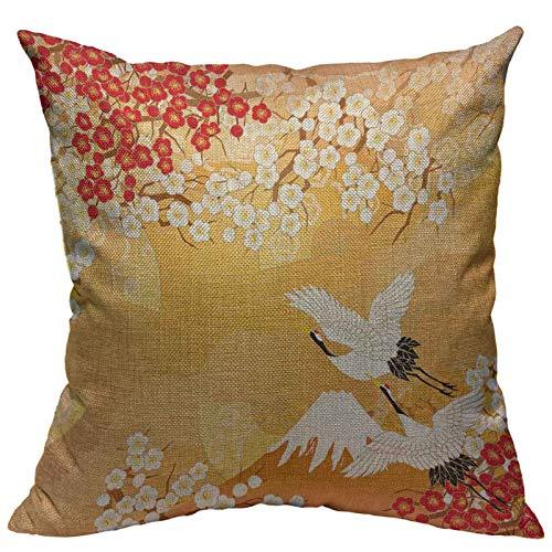 VERSUSWOLF Throw Pillow Cover Beautiful Kimono of Japan Cotton Linen Square Pillowcases Asia Gold Lovely Origami Palm Sakura Modern Cushion Cover Home Decor 18 X 18 Inch