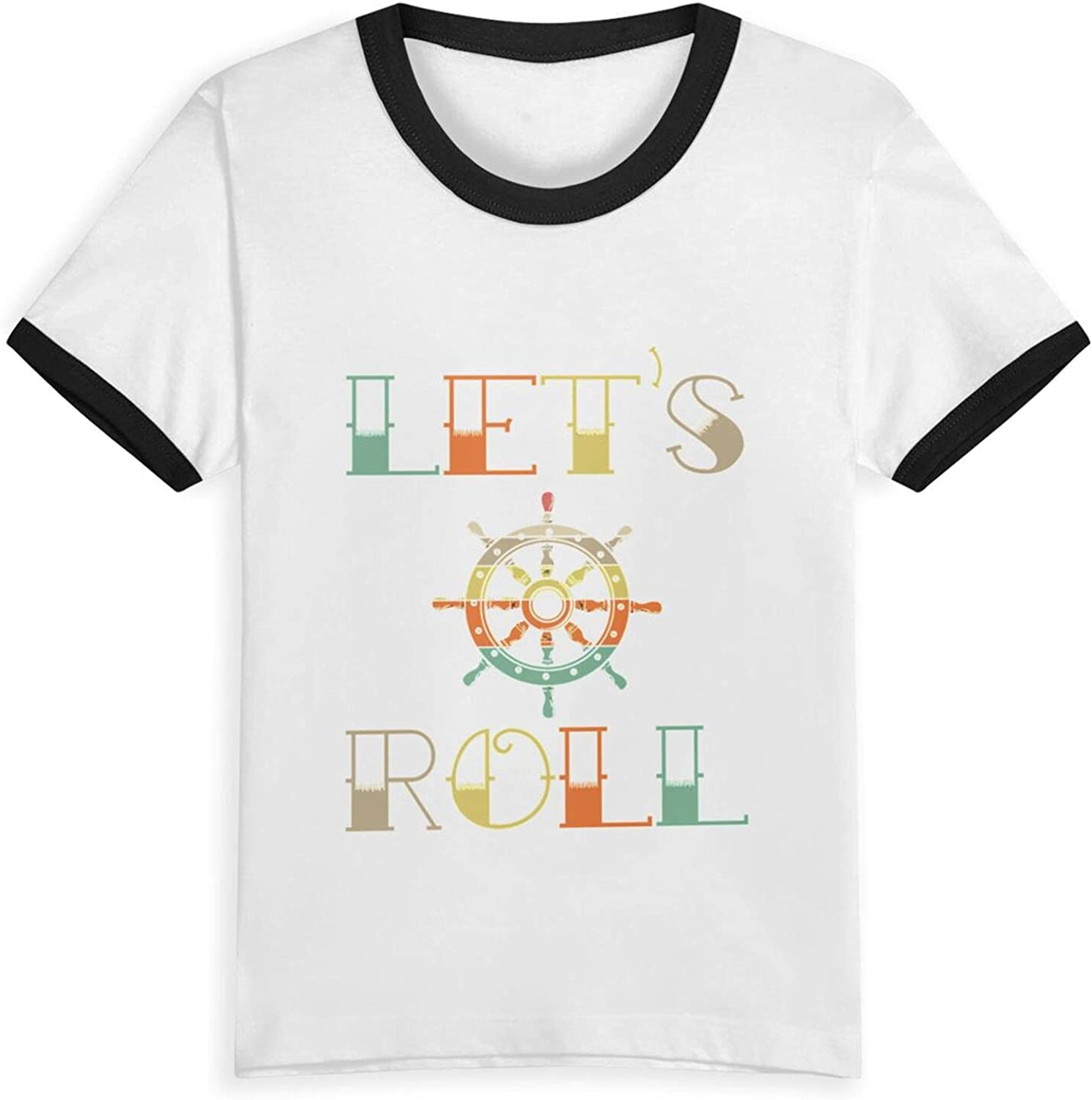 Retro Lets Roll Anchor T-Shirts Novelty for Kids Tees with Cool Designs