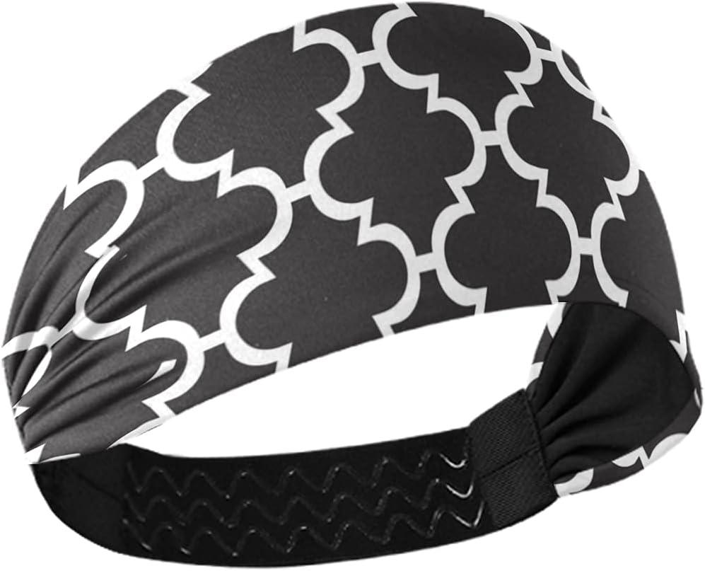 Sport Hair Band White Moroccan Black Non Slip Wicking Headband for Running