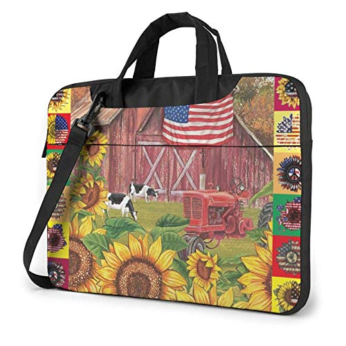 Laptop Bag Satchel Tablet,USA Flag Sunflower Cabin Handle Carrying Computer Bag,Laptop Case For Women & Men Ultra Thin Durable