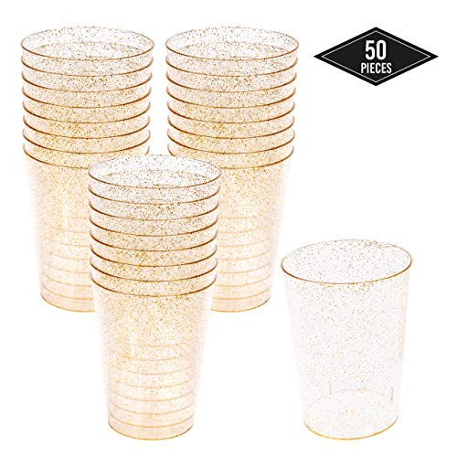 50 Hartplastik Einwegbecher Partybecher, Goldglitter 300ml - Stabile & Mehrweg - Starke Plastikgläser, Trinkbecher, Plastikbecher für Bier und Getränke| Partys Geburtstage Hochzeiten Weihnachten.