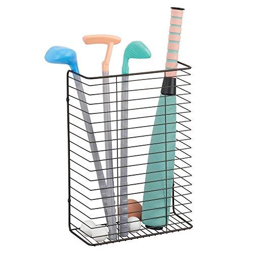 mDesign - Wandmand - hangende mand/muur organizer - voor keukenkast of voorraadkast - voor inpakpapier, linten en meer - metaaldraad - brons