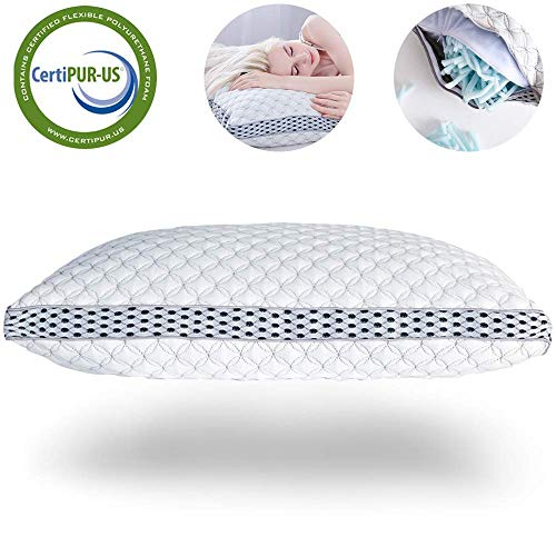 LIANLAM Memory Foam Pillow for Sleeping Shredded Bed Bamboo Cooling...