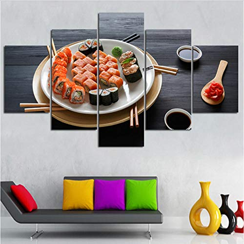 Rjbzd Dipinti su Tela Quadro su Tela Immagini Soggiorno Decorazioni per la casa Cornice 5 Pezzi Cucina Famosa Delicious Sushi Pittura Modulare Stampe