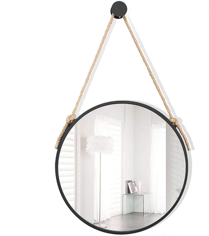 YANZHEN Mirror Wall-Mounted Hemp Rope Ultra-Clear Circular Durable Anti-Rust Bathroom Living Room Simple European Style Iron Art, 6 Size (color   Black, Size   Diameter 40cm)