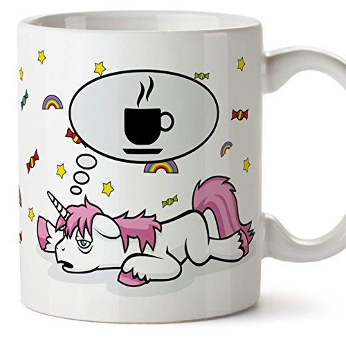 MUGFFINS Divertenti tazze di colazione con unicorni - Unicorno Pensando al caffè - Tazza Divertente e Originale - Ceramica 350 ml