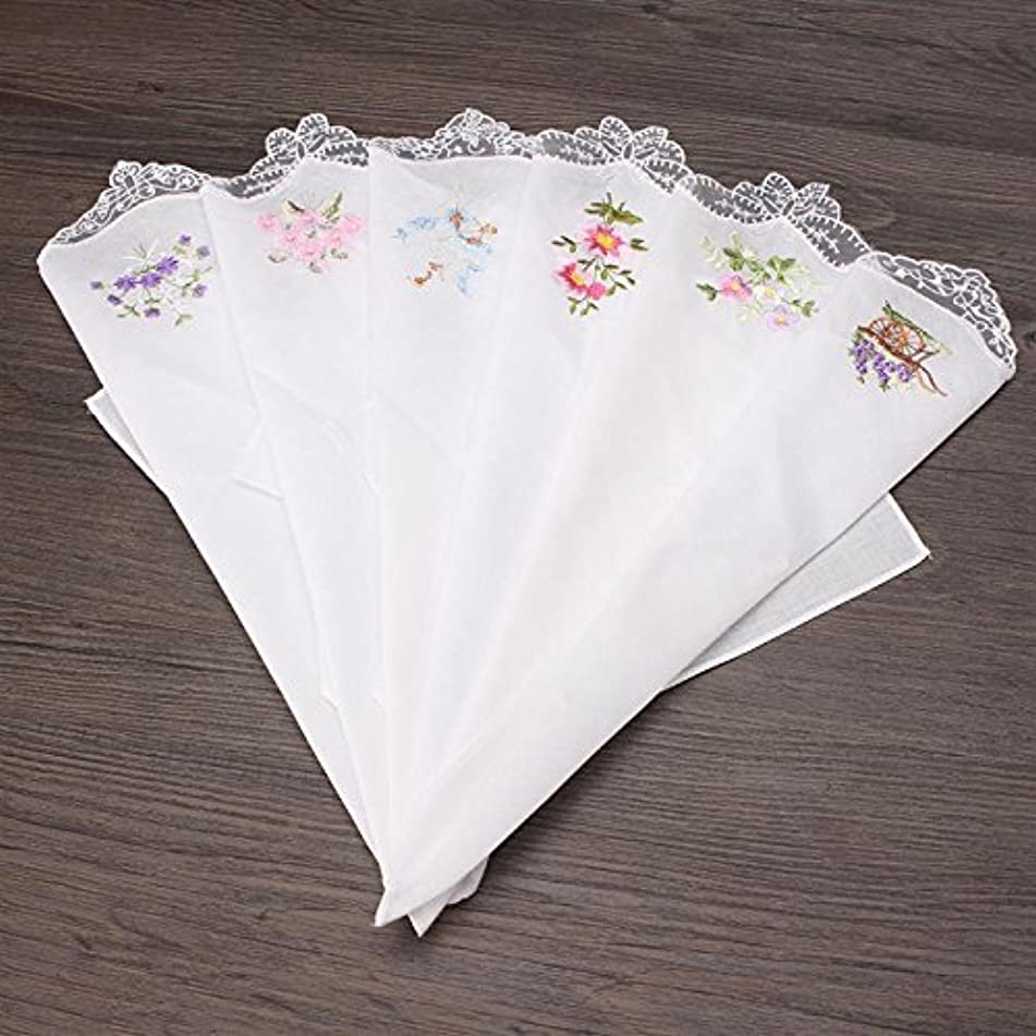 Women Hankies Embroidered Butterfly Lace Flower Hanky Floral Assorted Cloth Ladies Handkerchief Fabrics 6PCS