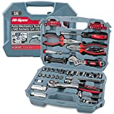 Hi-Spec Car Tool Kit, DT30016, SAE Auto Mechanics Tool Set - 3/8' Ratchet, 5/32' - 3/4' SAE Sockets Set, T-Bar, Extension Bar, 67 Piece SAE Hand Tools & Screw Bits in Storage Case