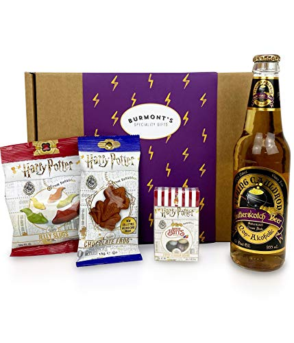 The Ultimate Harry Potter Selection Box - Non-Alcoholic Butterscotch Beer, Chocolate Frog, Jelly Belly Bertie Bott's Beans & Jelly Slugs. Hamper Exclusive To Burmont's