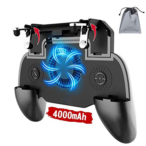 Phone Controller with 4000mAh Power Bank Cooling Fan, YOBWIN Mobile Controller Phone Game Mobile Trigger Joystick L1R1 Gamepad Grip Remote for 4-6.5 Inch Android iOS (2019 Version)