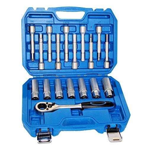 ROTOOLS Stossdämpfer Federbein Domlager Werkzeug Ovalzapfen Steckschlüsselsatz für VW BMW Mercedes 6201 CN
