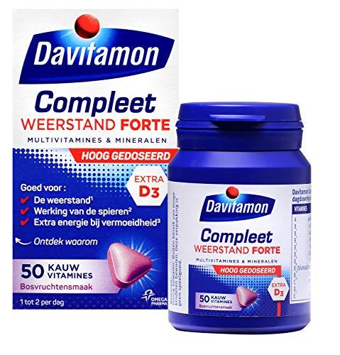Davitamon Compleet Weerstand Forte - Multivitaminen en mineralen - speciaal ontwikkeld voor volwassenen en bevat een extra hoge dosering van belangrijke vitamines en mineralen - 50 stuks