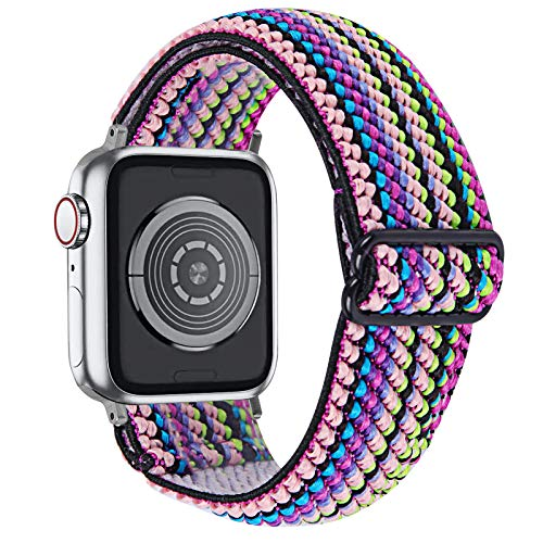 MEFEO Adjustable Elastic Bands Compatible with Apple Watch Bands 38mm 40mm 42mm 44mm, Soft Stretch Bracelet Replacement for iWatch Series 6/5/4/3/2/1 & SE Women Girls (Rainbow, 42mm/44mm)