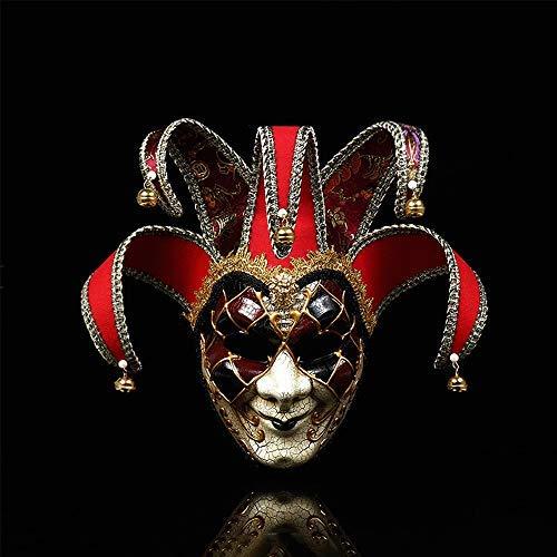 MikePie Maschera Veneziana Carnevale, Retro Maschera di Smiley Clown, per Partito di Halloween, Natale Travestimento Maschera, Uomo e Donna Rosso