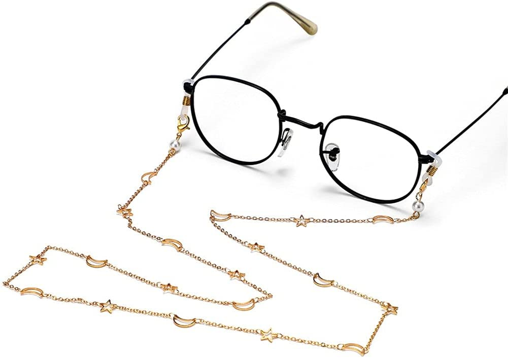 WJCCY Sunglasses Chains Hollow Star Moon Copper Plating Chain Women Lanyard Glasses Accessories Hold Straps Cords (Color : A, Size : Length-70CM)