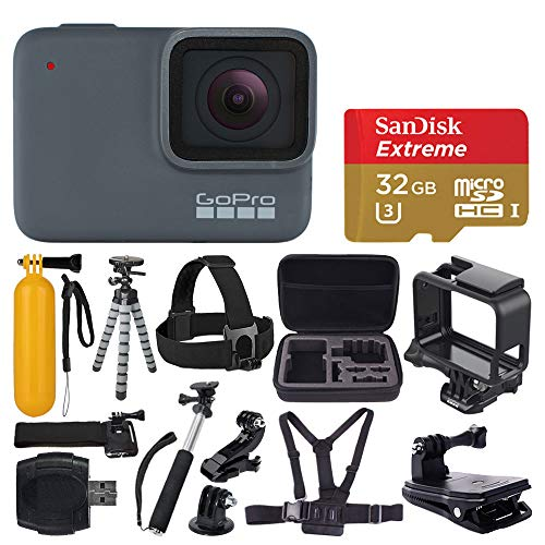 GoPro HERO 7 Silver Waterproof Digital Action Camera + Sandisk Extreme 32GB MicroSDHC Memory Card + Medium Case + Flexible Tripod + Head & Chest Strap + Monopod + Floating Handle + Wrist Strap + Clamp