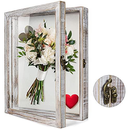 TJ.MOREE - Scatola per ombre con fiori, 11 x 14 cm, con cornice in vetro e porta finestra in profondità,...