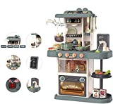 TOPQSC Kinder-Spielküche mit Ofen, Abzugshaube, Spüle, Herd, Essecke, Küche mitwachsende Kinderküche mit Sound und zahlreichem Zubehör, Kochplatte, mit vielen Funktionen