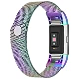 iGK Replacement Bands Compatible for Fitbit Charge 2, Stainless Steel Metal Bracelet with Unique Magnet Clasp Colorful Small