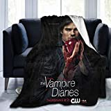 Vampire Diaries Damon Salvatore Blanket Poster for Bedroom Merch Couch Flannel Size 50x40 in Soft Warm Winter Throw Blanket for Girl Kid