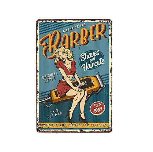 LHCY Vintage Étain Métal Affiche Plaque Décorative Vintage Barber Shop Affiches en Métal Barbershop Affiche Café Bar Pub Rétro Plaque Coupe De Cheveux Et Rasage Plaques De Fer 20X30 Cm