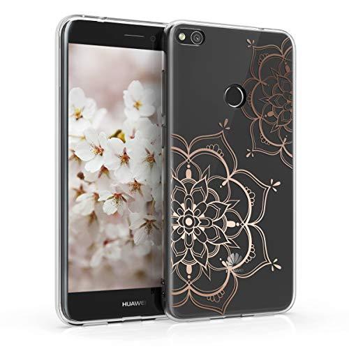 kwmobile Hülle kompatibel mit Huawei P8 Lite (2017) - Handyhülle - Handy Hülle Blumen Zwillinge Rosegold Transparent