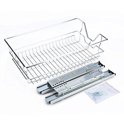 GOTOTOP 35/40/50/60 cm cesta extraíble, organizador para armario deslizante de cocina, con guías deslizantes, de acero inoxidable cromado, máx. 20 kg (35 cm)