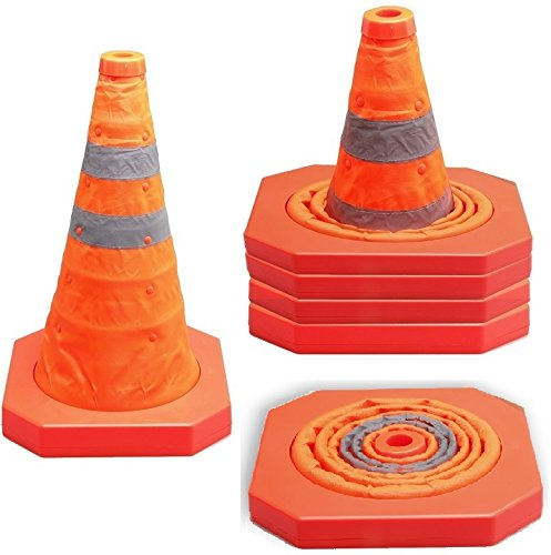 Cartman Collapsible Traffic Cone 15,5 Inches, Multi Purpose Pop up Reflective Safety Cone, Pack of 4