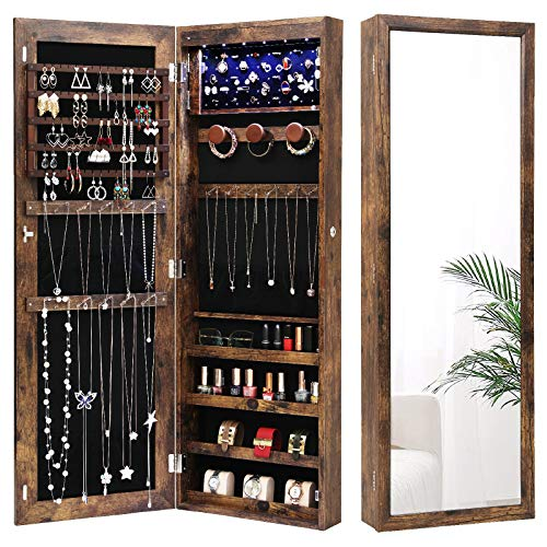 Nicetree 6 LEDs Jewelry Armoire Organizer, Wall/Door Mounted Jewelry Cabinet with Full Length Mirror, Larger Capacity, Dressing Mirror, (Rustic Brown)