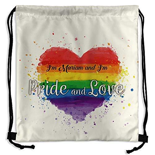 LolaPix Mochila Saco Día del Orgullo Gay Personalizada con Nombre o Texto | Varios Diseños LGTBQ a Elegir | Regalo Original y Exclusivo | Heart Pride