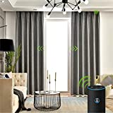 Yoolax Motorized Electric Blackout Curtain Texture Thermal Insulated Drapes Compatible with Alexa and Google Home Remote Control Smart Curtain Customized (Grey, W156''XH95''(Cover Area))