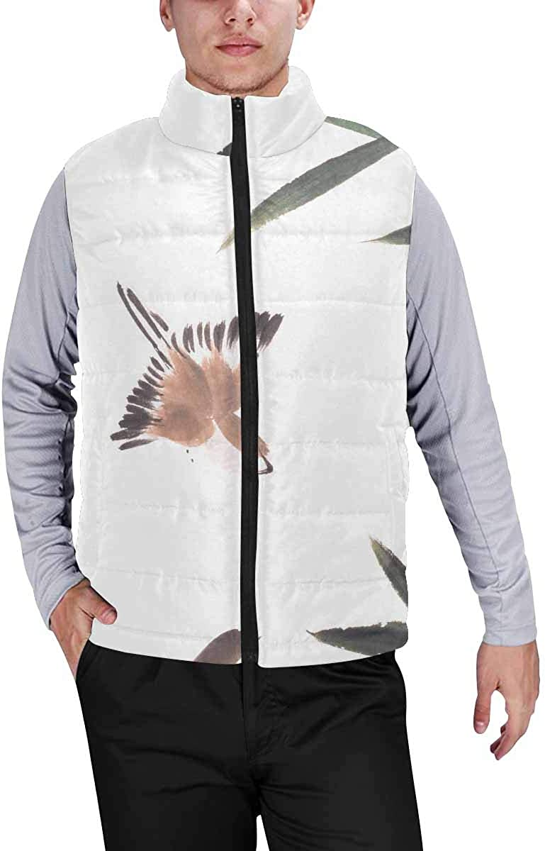 InterestPrint Men's Winter Full-Zip Outwear Padded Vest Coats Horse with Horn and Rainbow, Stars, Moon