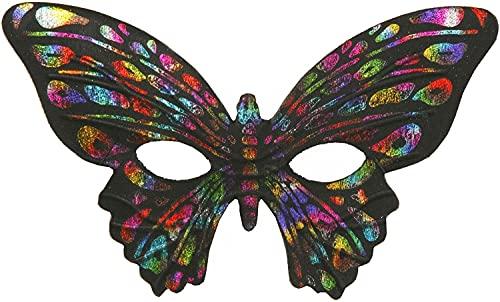 Forum Mardi Gras Costume Masquerade Half Mask Rainbow Butterfly, Multi-Colored, One Size